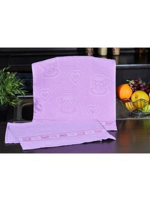 Набор кухонных полотенец ЧАШКА лиловый  (2х2шт.) 40х60 TOALLA. Цвет: лиловый