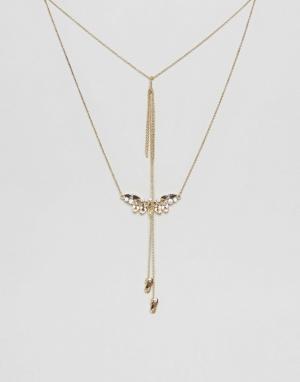 Johnny Loves Rosie Ярусное ожерелье с двумя подвесками. Цвет: золотой