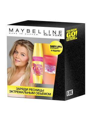 Набор Тушь для ресниц Colossal Go Extreme + Бальзам губ и щек Baby Lips Maybelline New York. Цвет: черный, красный