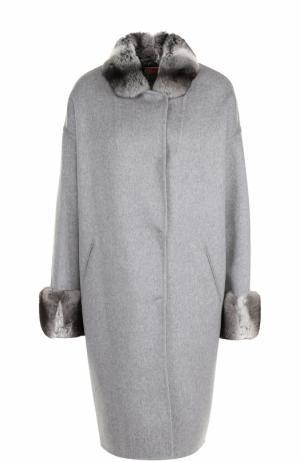 Кашемировое пальто с отделкой из меха шиншиллы Colombo. Цвет: светло-серый