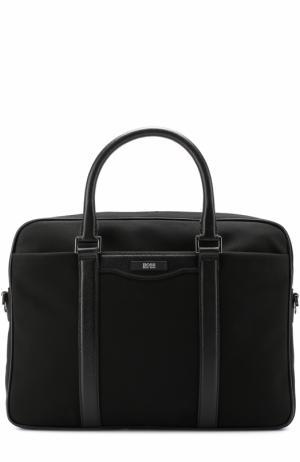 Текстильная сумка для ноутбука с кожаной отделкой и плечевым ремнем BOSS. Цвет: черный