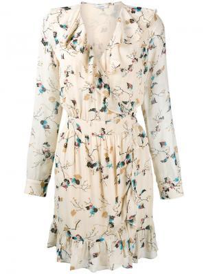Платье с узором Ganni. Цвет: телесный