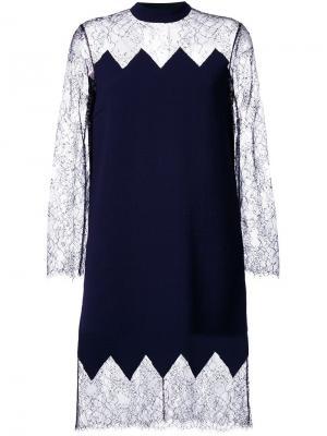 Коктейльное платье с прозрачной кружевной панелью Huishan Zhang. Цвет: синий