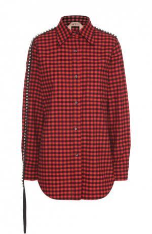 Блуза прямого кроя в клетку с декоративной отделкой No. 21. Цвет: красный