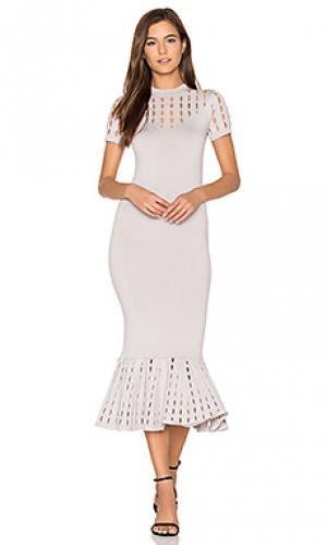 Стрейчевое облегающее платье OLCAY GULSEN. Цвет: серый
