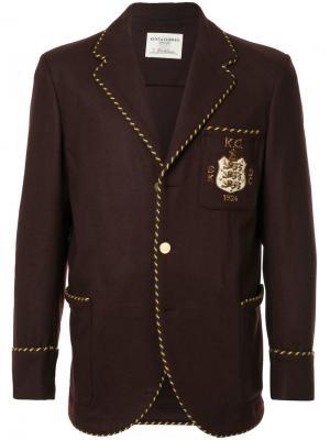 Приталенный пиджак с заплаткой логотипом Kent & Curwen. Цвет: коричневый