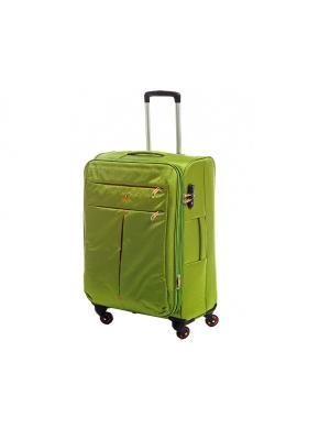 Чемодан-дорожная сумка на колесиках, размер S, 39 л Sun Voyage. Цвет: зеленый