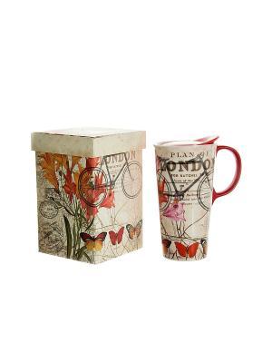 Кружка для чая/кофе Лондон термо Русские подарки. Цвет: бежевый, красный