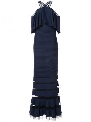 Длинное платье с расклешенным подолом Tadashi Shoji. Цвет: синий