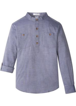Рубашка с подворачиваемыми рукавами (меланжевый индиго) bonprix. Цвет: меланжевый индиго