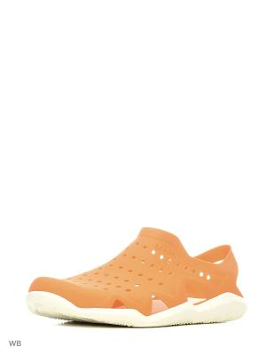 Сандалии CROCS. Цвет: оранжевый, белый
