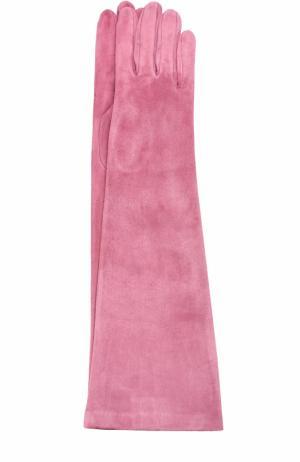 Удлиненные замшевые перчатки Sermoneta Gloves. Цвет: розовый