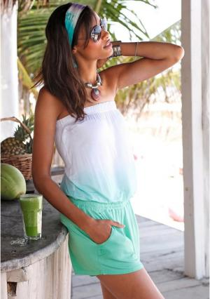 Пляжный комбинезон s.Oliver. Цвет: зеленый батик/белый
