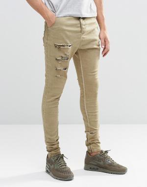 SikSilk Гаремные джинсы с рваной отделкой. Цвет: stone