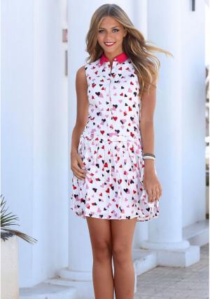 Платье Y.O.U.. Цвет: белый с рисунком