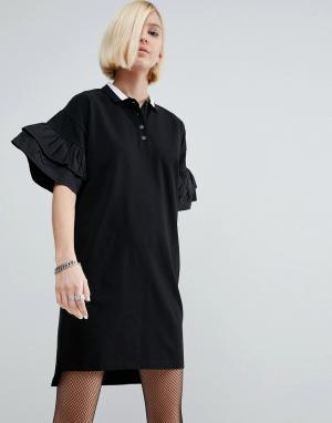 ASOS Платье-поло с ткаными оборками на рукавах. Цвет: черный