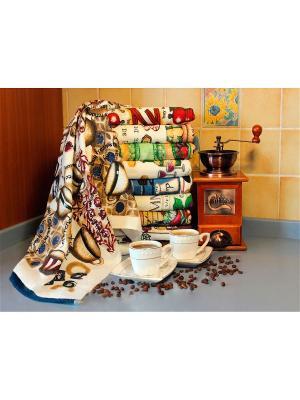 Полотенце для кухни Хлопковый Край. Цвет: бежевый, синий, бордовый