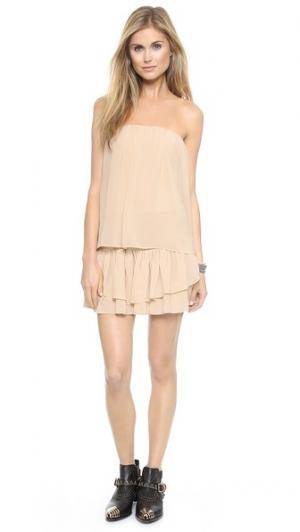 Мини-платье без бретелек с оборками Tbags Los Angeles. Цвет: бледно-розовый