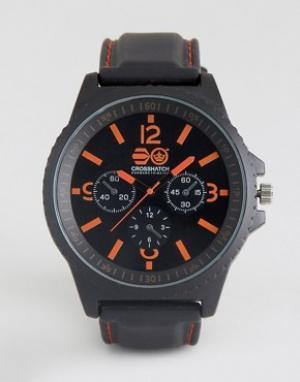 Crosshatch Черные часы с красными указателями. Цвет: черный