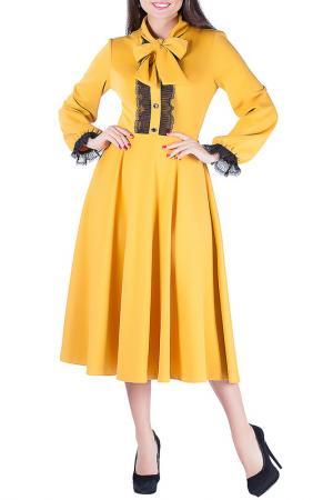 Полуприлегающее платье с декором Mannon. Цвет: желтый