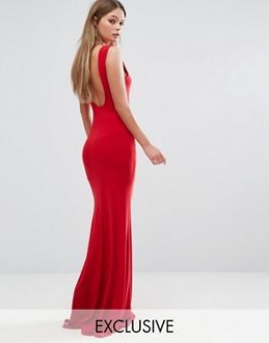 Club L Платье макси с глубоким вырезом на спине. Цвет: красный