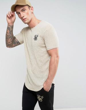 SikSilk Фактурная облегающая футболка песочного цвета. Цвет: светло-серый