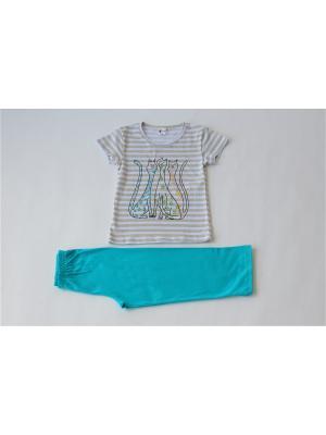 Пижама Iota. Цвет: бежевый, бирюзовый