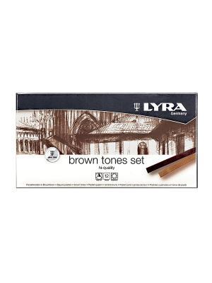 LYRA POLYCRAYONS пастель сухая 12 цв коричневые тона. Цвет: белый, коричневый, черный
