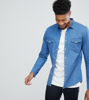 ASOS Выбеленная джинсовая рубашка зауженного кроя в стиле вестерн TALL. Цвет: синий