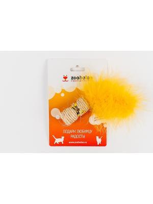 Игрушка для кошки Сизалевая когтеточка цилиндр с марабу 10см(с кош  мятой) Zoobaloo. Цвет: оранжевый