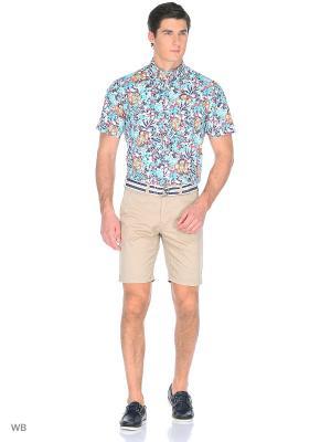 Рубашка Boston Brothers. Цвет: молочный, оранжевый, темно-синий
