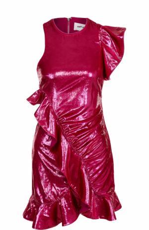 Мини-платье асимметричного кроя с драпировкой self-portrait. Цвет: фуксия