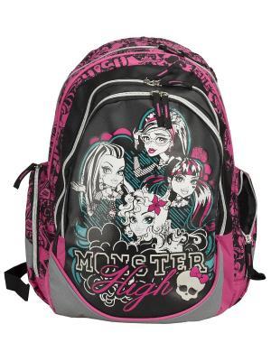Рюкзак, спинка - поролон с вентиляционной сеткой, Monster High. Цвет: розовый, черный