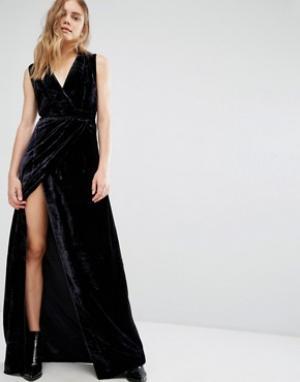 Gestuz Бархатное платье макси. Цвет: синий