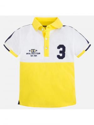 Футболка-поло Mayoral. Цвет: желтый