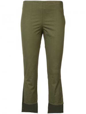 Асимметричные укороченные брюки Hache. Цвет: зелёный