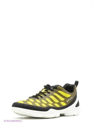 Кроссовки ECCO. Цвет: хаки, желтый, черный