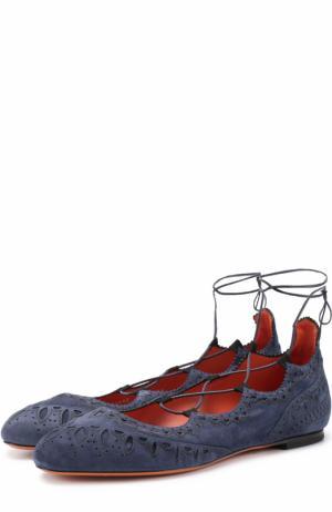 Замшевые балетки на шнуровке Santoni. Цвет: синий