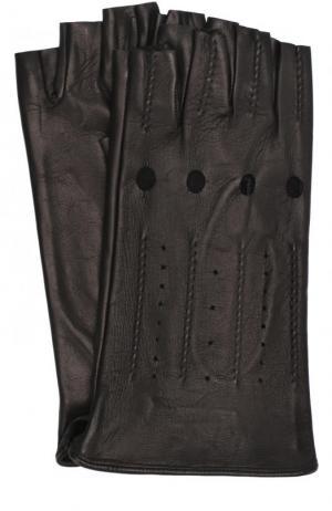 Кожаные митенки с перфорацией Sermoneta Gloves. Цвет: черный