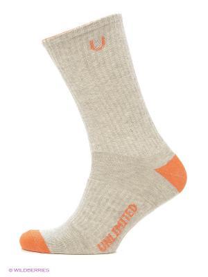 Носки, 3 пары Unlimited. Цвет: оранжевый, серый меланж
