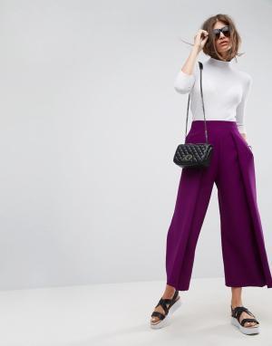 ASOS Фиолетовые кюлоты с широкими плиссированными штанинами Tailored. Цвет: фиолетовый
