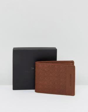 Paul Costelloe Светло-коричневый кожаный бумажник с тиснением. Цвет: рыжий