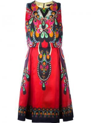 Расклешенное платье с принтом Manish Arora. Цвет: красный