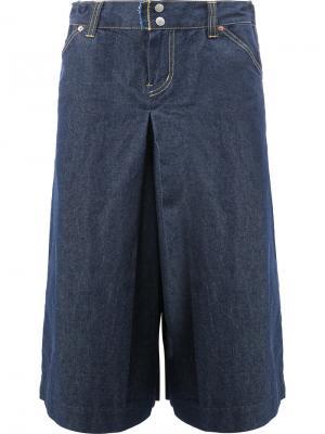 Укороченные широкие джинсы Ganryu Comme Des Garcons. Цвет: синий