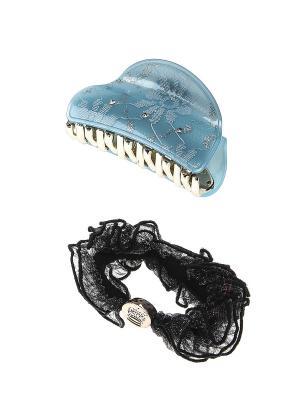 Аксессуары для волос (Заколка-краб, резинка) Migura. Цвет: голубой, золотистый, белый, черный
