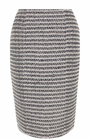 Буклированная юбка-миди с разрезом St. John. Цвет: бежевый