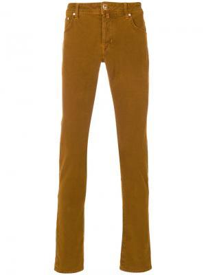 Текстурированные джинсы кроя слим Jacob Cohen. Цвет: жёлтый и оранжевый