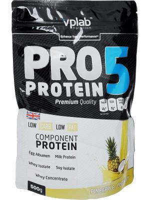 Протеин VPLab Pro5 Protein (ананас-кокос) 500 г. Цвет: черный, белый