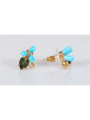 Серьги Бирюза-нефрит Lotus Jewelry. Цвет: золотистый, зеленый, бирюзовый