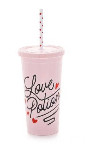 Стакан Love Potion с отделкой из соломки ban.do. Цвет: love potion